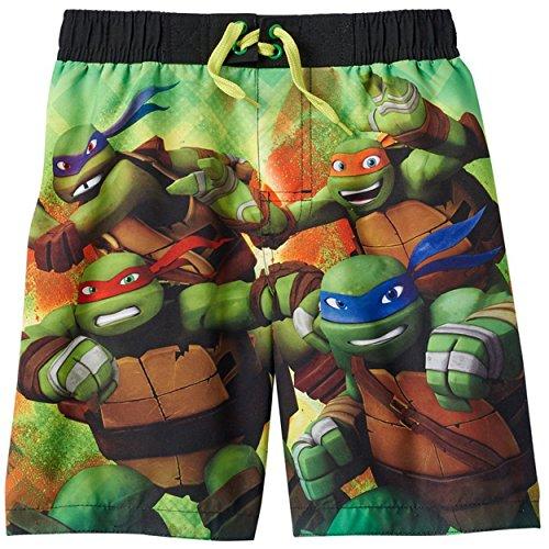 Nickelodeon TMNT Teenage Mutant Ninja Turtles Boys Swim Trunks Swimwear (7, Ninjas Green)