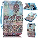 S4 Mini Case,Galaxy S4 Mini Case,Elephant Wallet Pouch Case Cover With Fold Up Kickstand and Detachable Wrist Strap for Samsung Galaxy S4 Mini