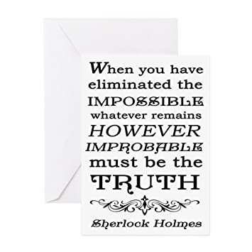 Amazon Com Cafepress Sherlock Holmes Impossible Quote Greeting