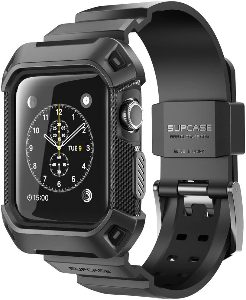SUPCASE [Unicorn Beetle Pro] Case for Apple Watch 3 [42mm], Rugged Protective Case with Strap Bands for Apple Watch Series 3/2/1 (Black)