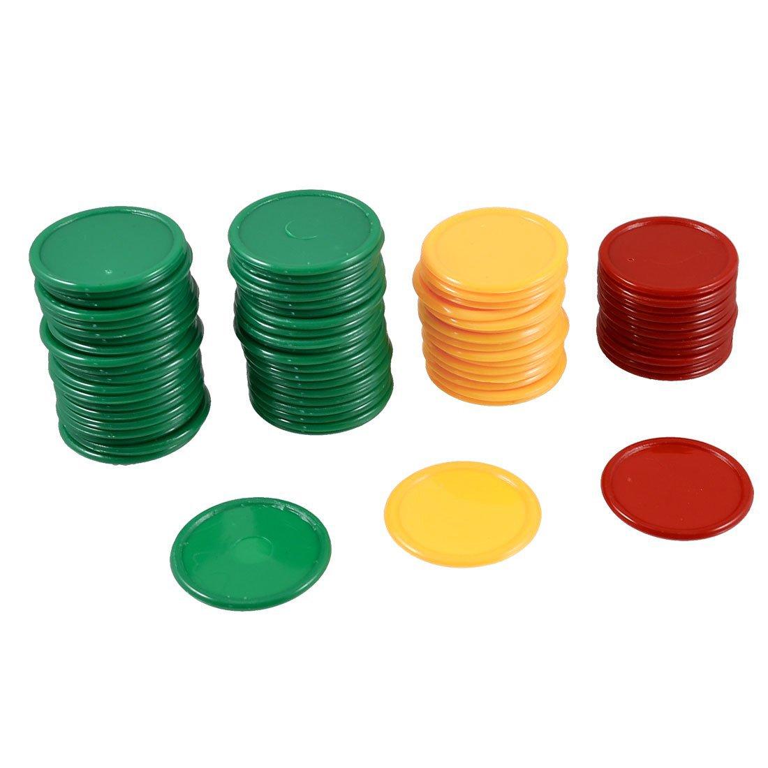 SODIAL(R) 69 Pcs Mini Jetons de poker Rouge Jaune Vert En forme ronde pour le jeu chanceux 040895