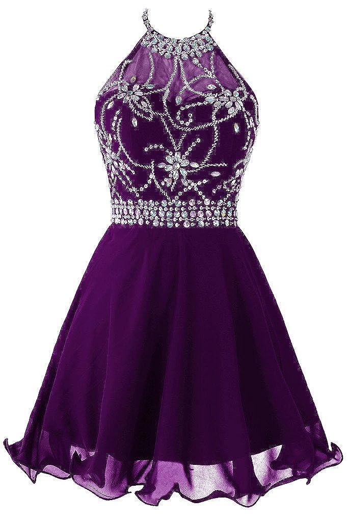 Dark Purple Topdress Women's Short Beaded Prom Dress Halter Homecoming Dress Backless