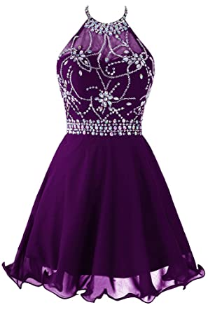 e58e72245e3 Topdress Women s Short Beaded Prom Dress Halter Homecoming Dress Backless  Dark Purple US 0