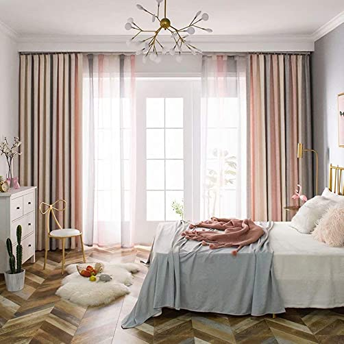Leadtimes Pink Divider Room Darkening Curtains Linen Look Blackout Panels 102 Inch Extra Wide Grommet Light Blocking Window Drapes Pink, 100 W x 102 L