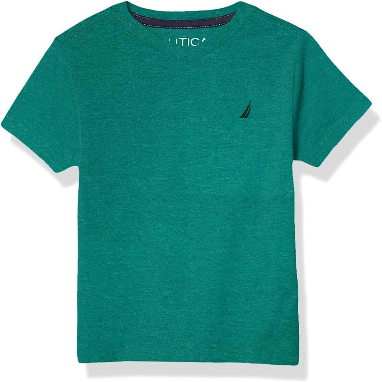 Nautica Boys Short Sleeve Solid Heathered V-Neck Tee