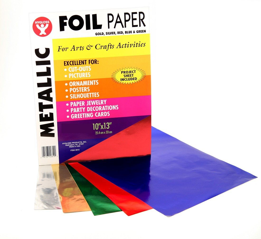 Hygloss Products Metallic Foil Paper Sheets - 10 x 13 Inch, 50 Sheets - Assorted Colors by Hygloss
