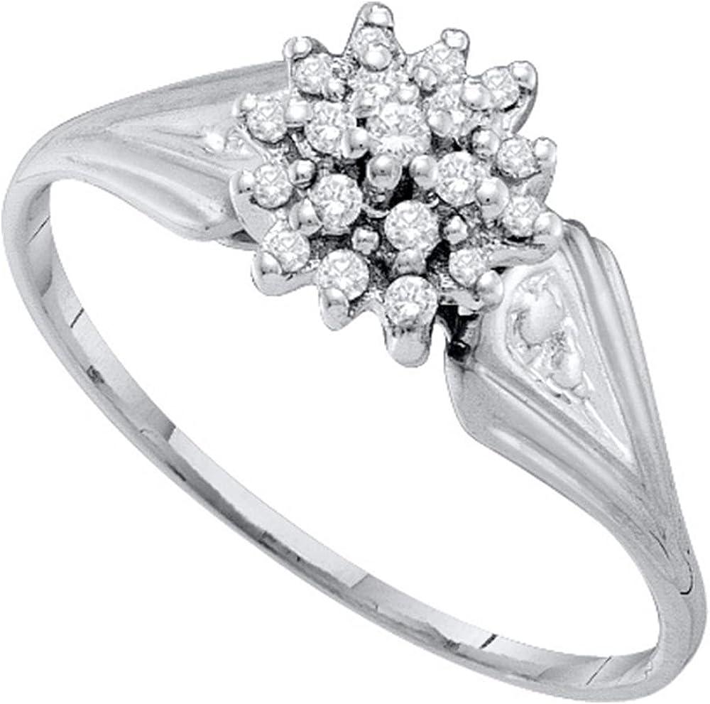 10KT White Gold Round Diamond Cluster Ring 0.09 Cttw