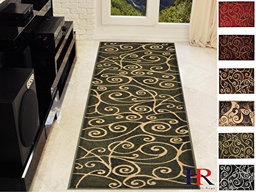 Mocha Runner Area Rug - Handcraft Rugs-Modern Contemporary Brand New Area Rugs-Abstract Carpet with Wavy Swirls -Shed free Sage Green/Ivory/Mocha(2x7 feet Runner)