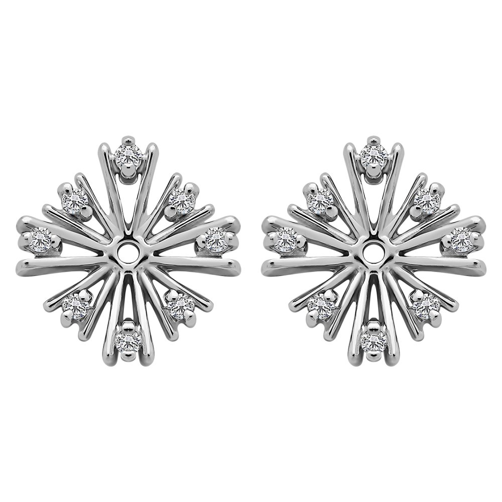 1/10 ct. Charles Colvard Created Moissanite Moissanite Starburst Inspired Earring Jacket in Sterling Silver (0.12 ct. twt.)