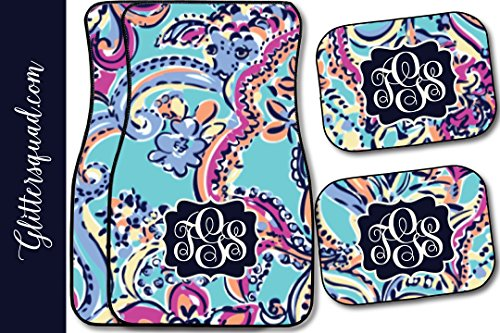 Monogram Car Mats (Monogramed Car Mat Paisley Pattern (Set of 4))