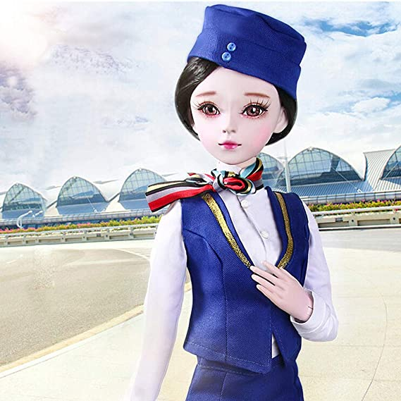 Amazon.com: LtrottedJ BJD Doll SD Doll 60cm/24inch Stewardess Uniform Doll for Girl Collection Gifts: Toys & Games
