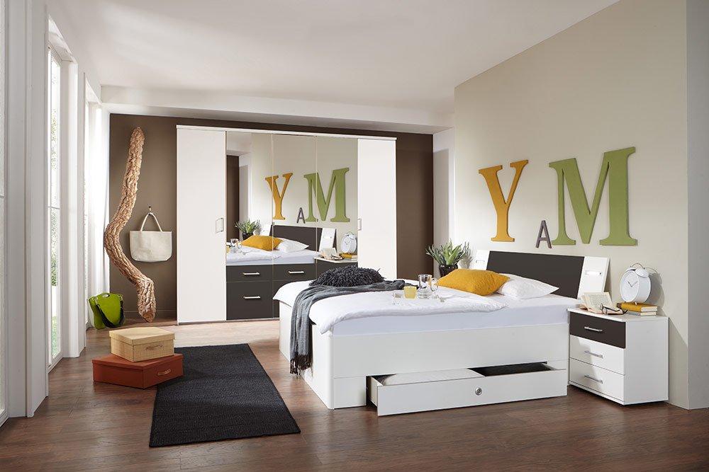 4-tlg-Schlafzimmer in Alpinweiß mit lavafarbigen Absetzungen, Kleiderschrank B: 225 cm, Bett mit Schubkästen B: 180 cm, 2 Nachtschränke B 104 cm