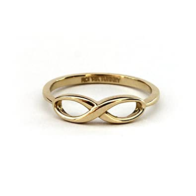 infinity ring gold. 14k yellow gold infinity ring, size 5 ring