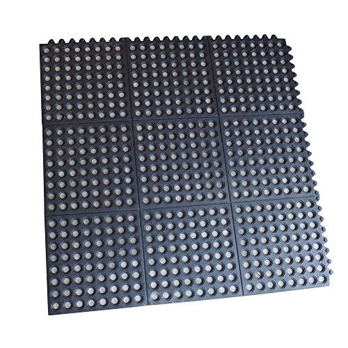 3/8 Inch Through Hole - 3 ft. x 3 ft. Interlocking Rubber Mats (4-Pack)