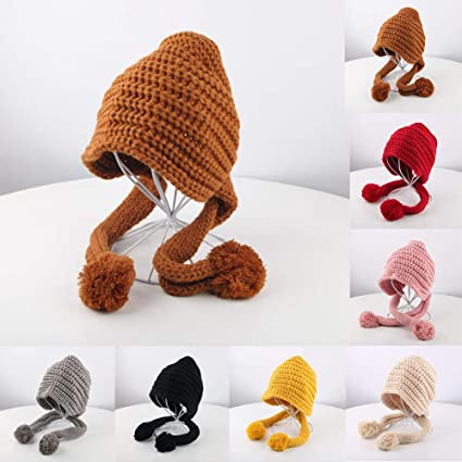 Infgreate Clearance Sale Stylish Warm Hat Winter Outdoor Baby Boy Girl Solid Color Beanie Cap Warm Knitted Hat Ball Decor