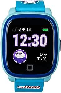 SoyMomo Reloj GPS Niño, Modelo H2O, botón SOS, Llamadas, Mensajes de voz, podómetro, utiliza su propia simcard, resistente al agua IP67, Reloj inteligente para niños, rastreador GPS LBS, pulsera inteligente niños, aplicación compatible con IOS / Android. Color Azul