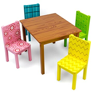 Funny Furniture Kids Wooden Table   4 Chairs Set  Cartoon Inspired Designs  by Imagination. Amazon com  Funny Furniture Kids Wooden Table   4 Chairs Set