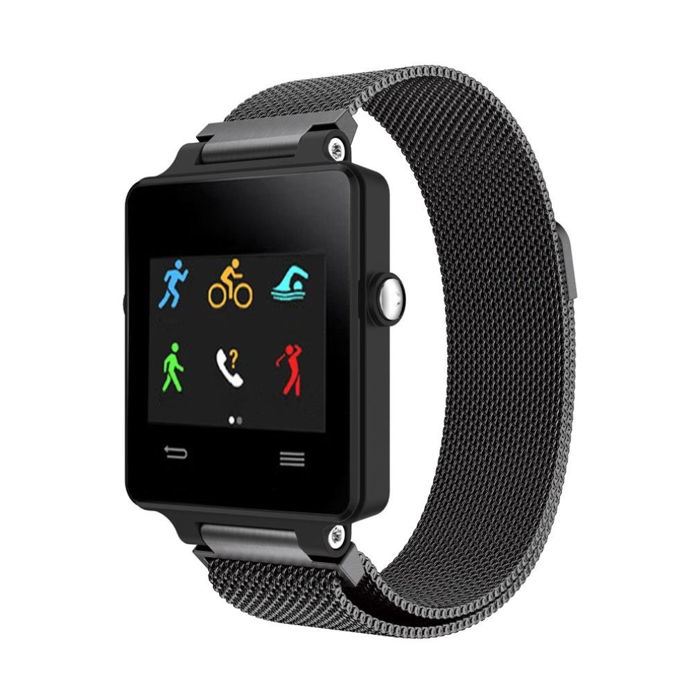 YJYdada Stainless Steel Bracelet Smart Watch Band Strap For Garmin Vivoactive (Black)