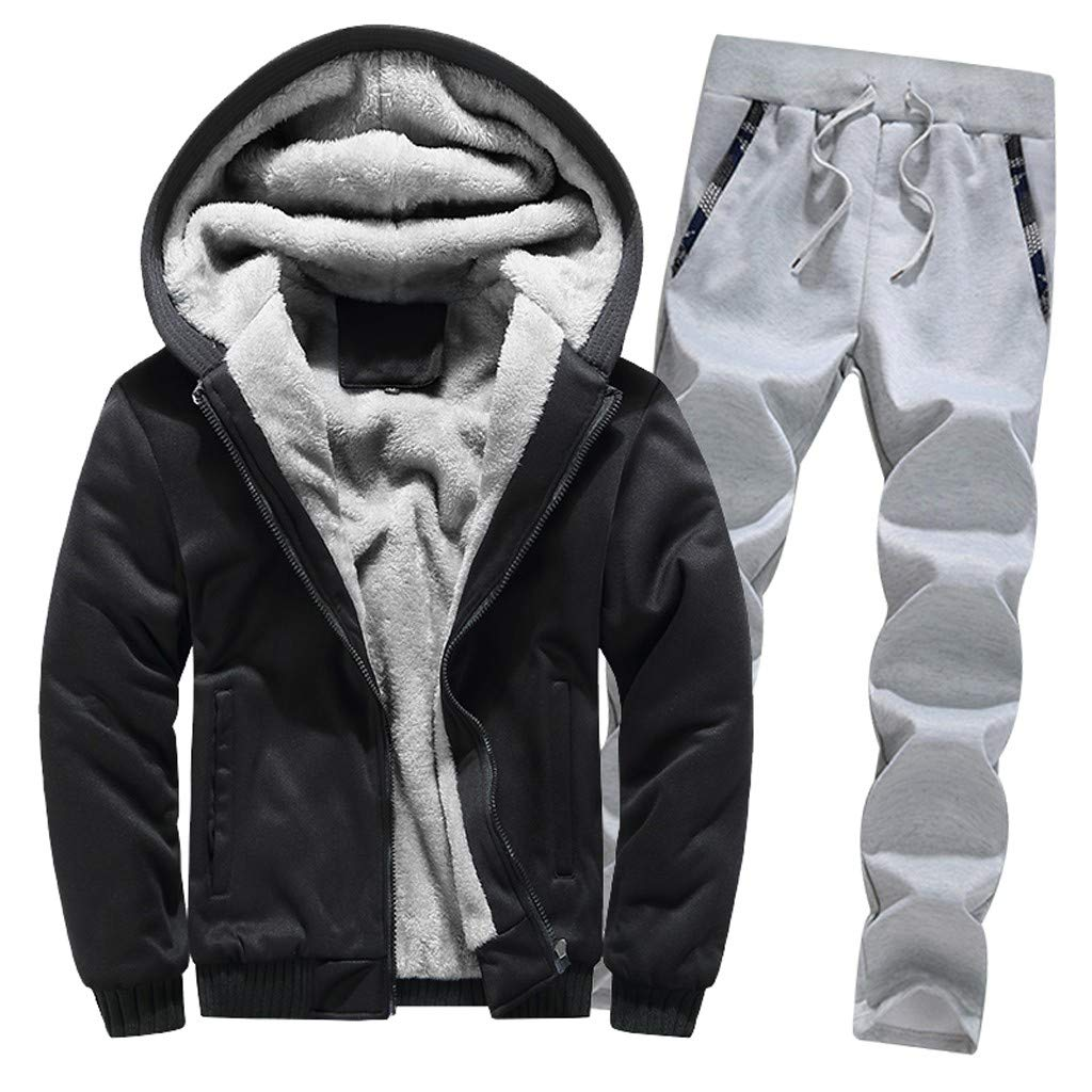 WOCACHI Hoodies for Mens, Mens Hoodie Winter Warm Fleece Zipper Sweater Jacket Outwear Coat Top Pants 2PC Sets WOCACHI-181212