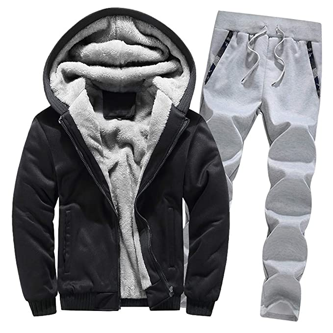 AKIMPE Mens Outwear for Mens Hoodie Winter Warm Fleece Zipper Sweater Coat,Thick Coatss 1PC Tops + 1PC Pants