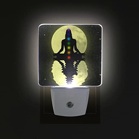 GIOVANIOR Seven Chakras Plug in Dusk to Dawn Light Sensor LED Night Light Wall Light for Bedroom, Bathroom, Hallway, Stairs, Energy Efficient - - Amazon.com