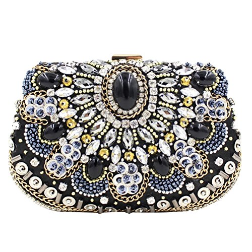 Zhhlaixing Bolsos hermosos High Quality Gorgeous Bags Double Line Glassbeat Embroidery Party Rhinestones Handbags para mujer