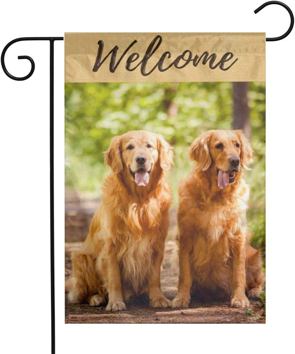 Golden Retriever Garden Flag 12x18 Welcome Dog Flag Small Happy Golden Retriever Flag for Outdoor Lawn and Garden Home Decor Double-Sided