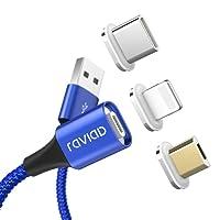 RAVIAD Multi Cavo USB Magnetico di Ricarica, Nylon 3 in 1 Cavetto Carica Multiplo con Adattatore Magnet Micro USB Tipo C per iPhone X 8, Android Samsung Galaxy S9 S8,Huawei,Honor,Xiaomi,Sony,Kindle