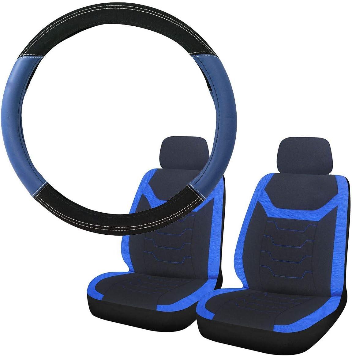 UKB4C Blue /& Black Steering Wheel /& Front Seat Cover set for Renault Wind