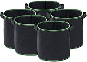 AGUIguo 5 Pcs Grow Bags –Thickened and Reinforced – for Plants Vegetables Fruits Gardens -10 Sizes for Choosing (3 Gallon)