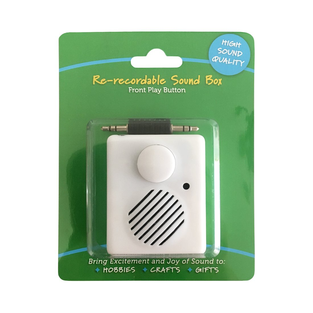 High Sound Quality - Re-recordable Sound Box - Front Play Button - Record from any Device thru Audio Port