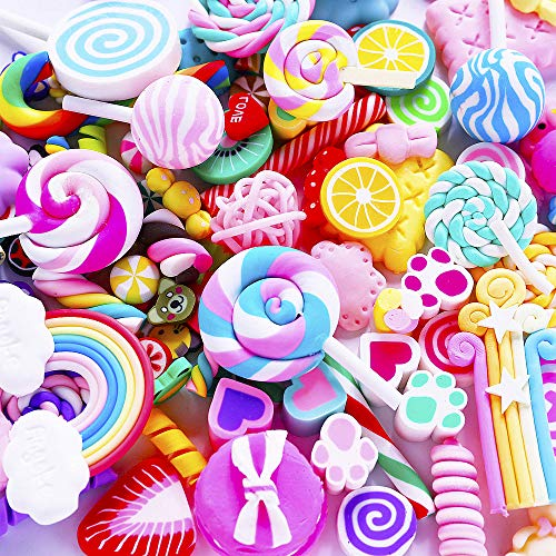 Slime Charms Cute Set - 100pcs Charms for Slime Assorted Fruits Rainbow Lollipop Polymer Clay for Craft Making, Ornament Scrapbooking DIY Crafts]()