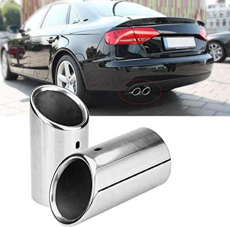 2x Stainless Steel Exhaust Muffler Tip Tail Pipe for Audi A4 B8 2007-2014