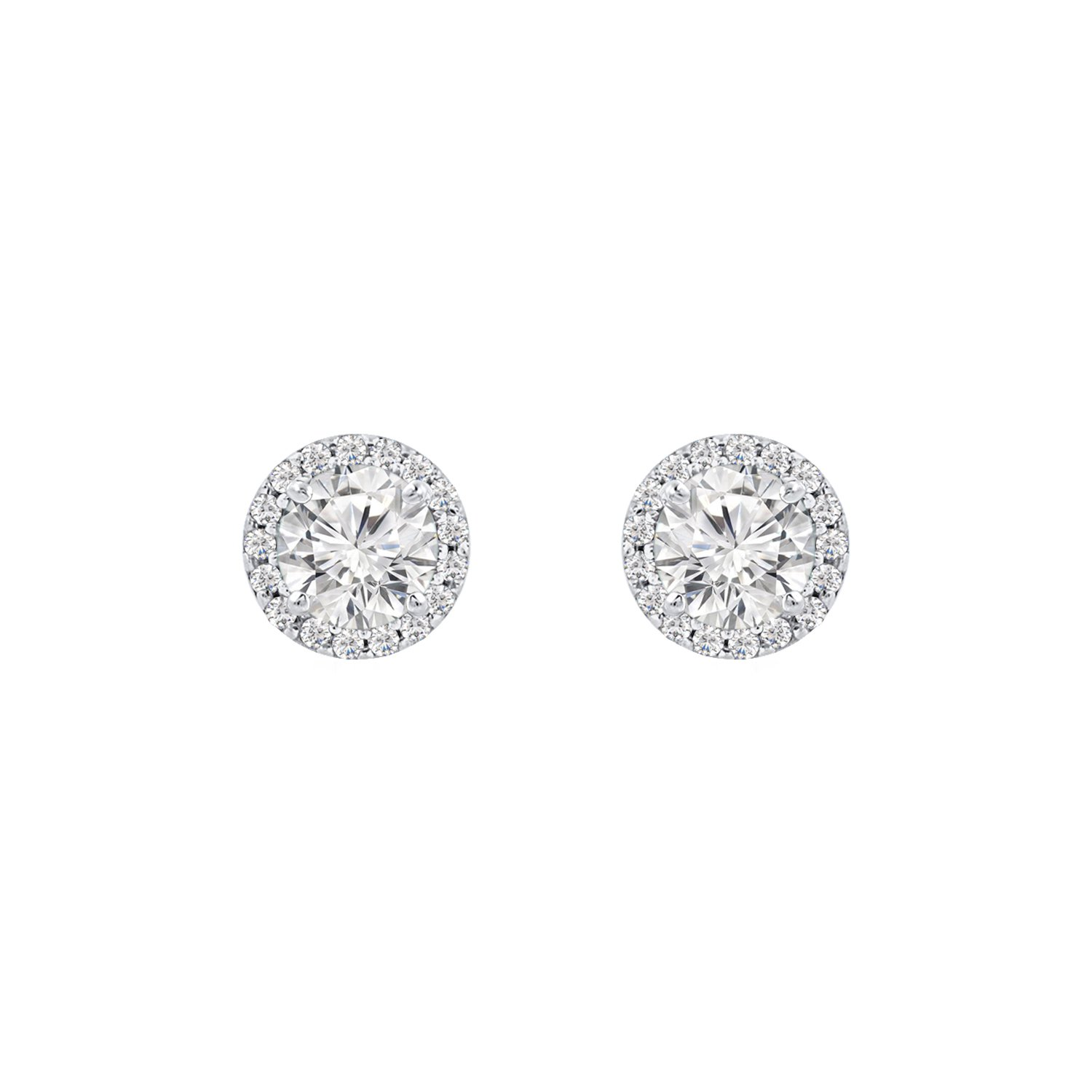 14k White Gold Over 1.11 ct 5mm Cubic Zirconia Halo Solitaire CZ Stud Earrings Best Gift Ideas for Women Girls Ladies