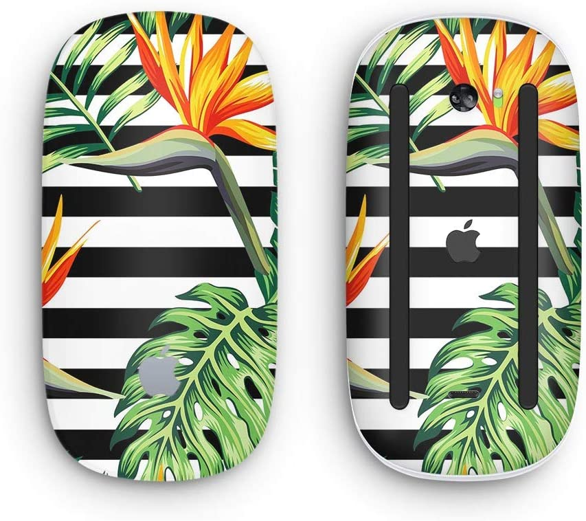 Design Skinz Premium Vinyl Decal for The Apple Magic Mouse 2 Vivid Tropical Stripe Floral v1 Wireless, Rechargable with Multi-Touch Surface