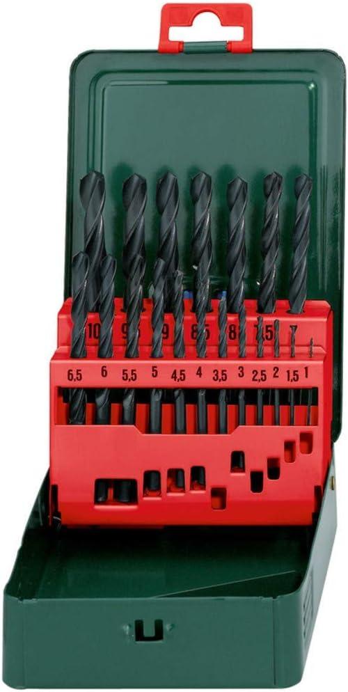 Metabo 627151000 627151000-Estuche metálico de Brocas HSS-R 19 Piezas Afilado de Superficie cónica de 118º diámetros de 1,0 a 10,0 mm x 0,5 mm: Amazon.es: Bricolaje y herramientas