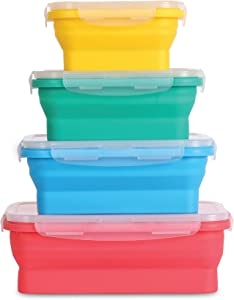Collapsible silicone food storage containers w/BPA free airtight plastic lids-Set of 4 small and large meal cereal prep container bowl kitchen pantry organization, kids lunch boxes-Microwave & freezer