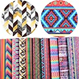 """David accessories Striped Plaid Geometry Pattern Printed Faux Leather Sheet Synthetic Leather Fabric 10 Pcs 8"""" x 13"""" (20 cm x 34 cm) for DIY Earring Bows Making (Geometry Pattern A): more info"""
