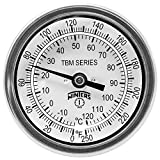 Winters TBM Series Stainless Steel 304 Dual Scale Bi-Metal Thermometer, 2-1/2'' Stem, 1/2'' NPT Fixed Center Back Mount Connection, 3'' Dial, 0-250 F/C Range
