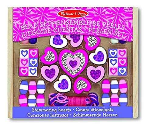 Melissa & Doug Shimmering Hearts Wooden Bead Set: 45 Beads and 3 Laces for Jewelry-Making - Bambini Perline