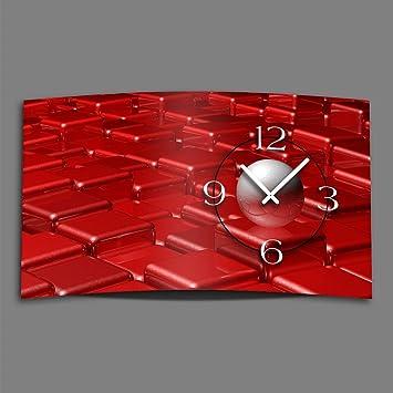 DIXTIME Digital - Tipo Abstracto Rojo diseñador Reloj de Pared Moderno Abstracto Relojes de Pared Diseño Silencioso sin Tic TAC 3DS de 0420: Amazon.es: ...