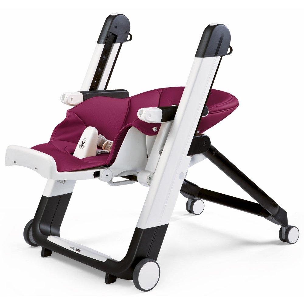 Berry Design-Hochstuhl mit Baby-Liegefunktion magenta Peg Perego Siesta Lederimitat-Bezug