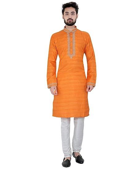 SEEMA ENTERPRISE Orange Print Silk Sherwani For Mens: Amazon