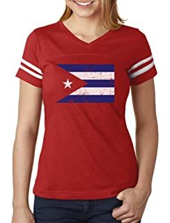 TeeStars - Cuba Flag - Vintage Retro Cuban Women Football Jersey