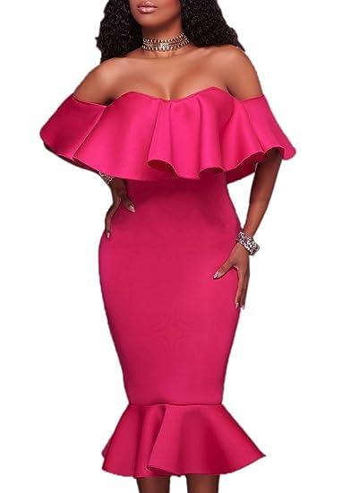 Vestido De Verano Mujer Beachwear Con Volantes Colores Lisos Halter Midi Vestidos De Partido Fiesta Coctel