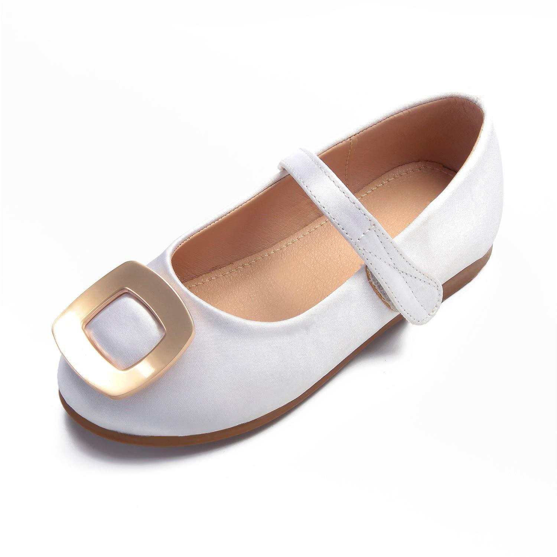 Zxstz Mädchen Schuhe Spitze Komfort Ballerina Knöchelriemen Hochzeit Schuhe Schnalle Haken & Loop für Silber