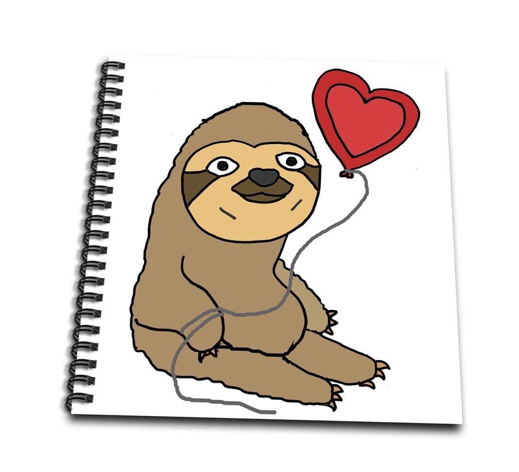 3dRose db/_265132/_1 Amusing Cute Sloth with Heart Shaped Love Balloon Drawing Book 8 x 8 8 x 8