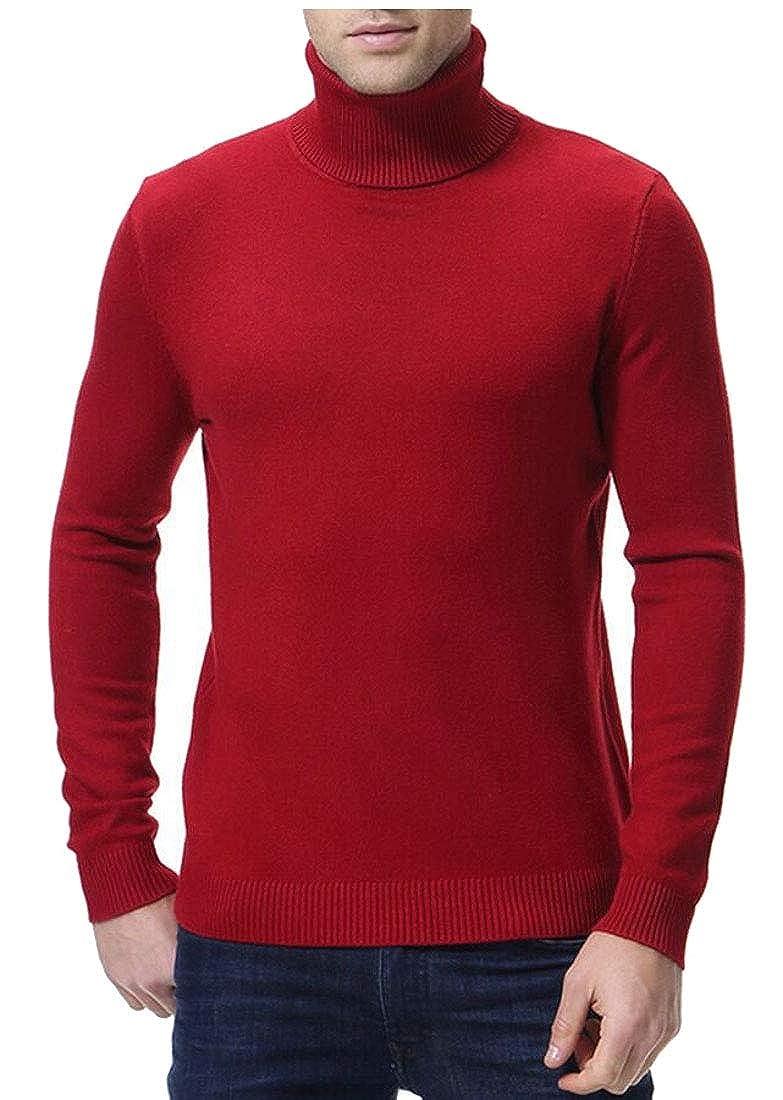 xiaohuoban Men Turtleneck Pullover Sweater Knitted Slim Fit Sweatershirts