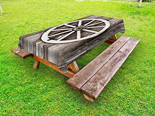 Ambesonne Barn Wood Wagon Wheel Outdoor Tablecloth, Retro Wheel on Timber Wall Barn House Village Cart Circle, Decorative Washable Picnic Table Cloth, 58 X 84 Inches, Dark Brown and White