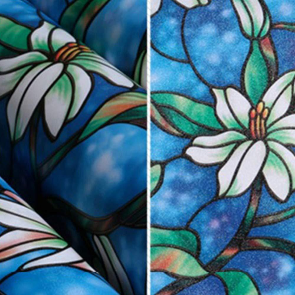 Yisj Pellicola Privacy Pellicola di Finestra del Fiore di Orchidea Pellicola Decorativa di Vetro colorato Pellicola di Vetro colorato Vetrofania Hom,45x200cm
